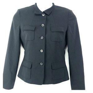 Elie Tahari Black Blazer Jacket Wool Polyester